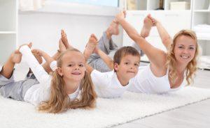 yoga bow pose w kids