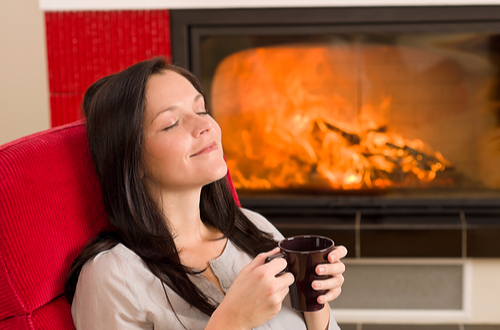 hot drink + fireplace