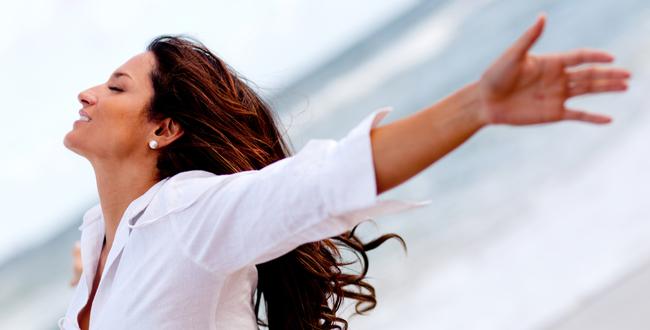 stress free woman at beach