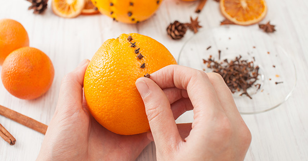 Decoration orange with cloves for the holiday