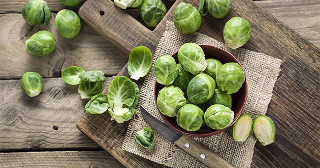 brussel sprouts on cutting board-630