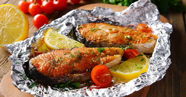 food cooked in foil-630