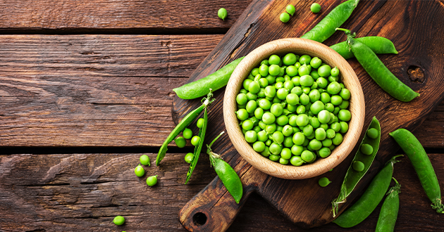 グリーンピースには、エネルギー源となる糖質とたんぱく質、不溶性食物繊維が多い
