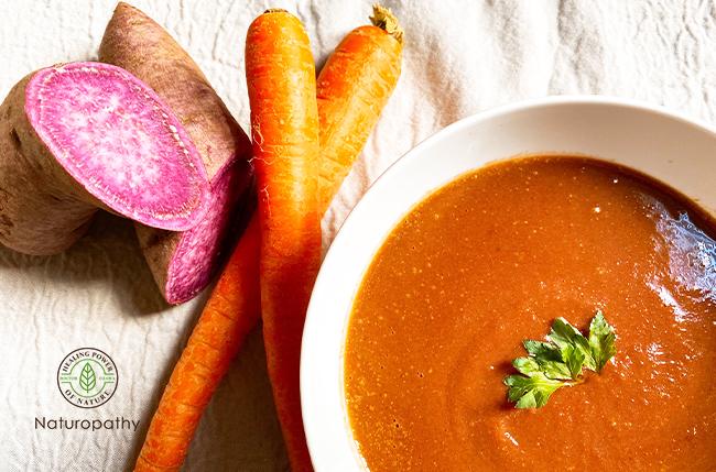 体温まる紫芋と人参ジンジャースープ-