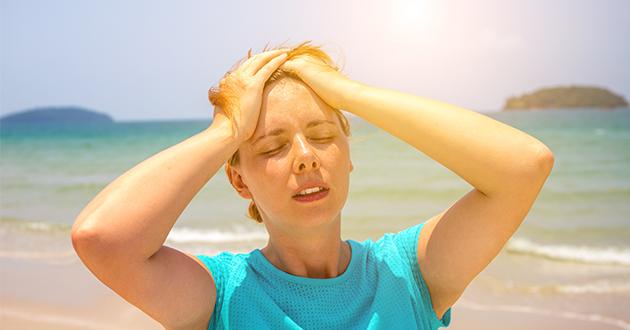 woman sweating in the sun